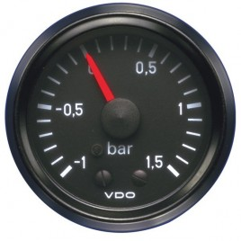 Manomètre VDO Pression Turbo 1.5 Bar Diamètre 52 Fond Noir